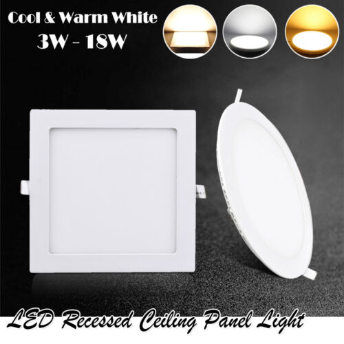 3W-18W Ultra-thin LED Recessed Ceiling Panel Down Light Bulb Office Lamp Fixture