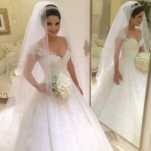New Cap Sleeve White/Ivory Lace Wedding Dress Princess Bridal gown Custom Size