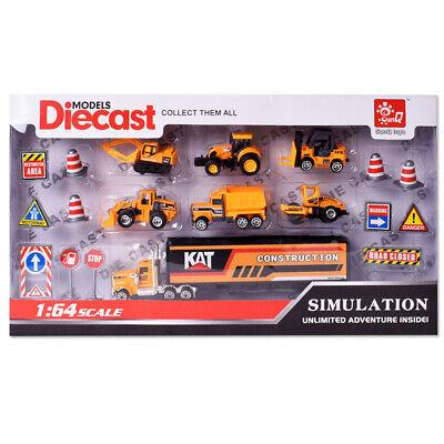 Kinder Spielzeugautos Baustellenfahrzeuge Baufahrzeuge Bagger LKW 19 tlg. 1:64