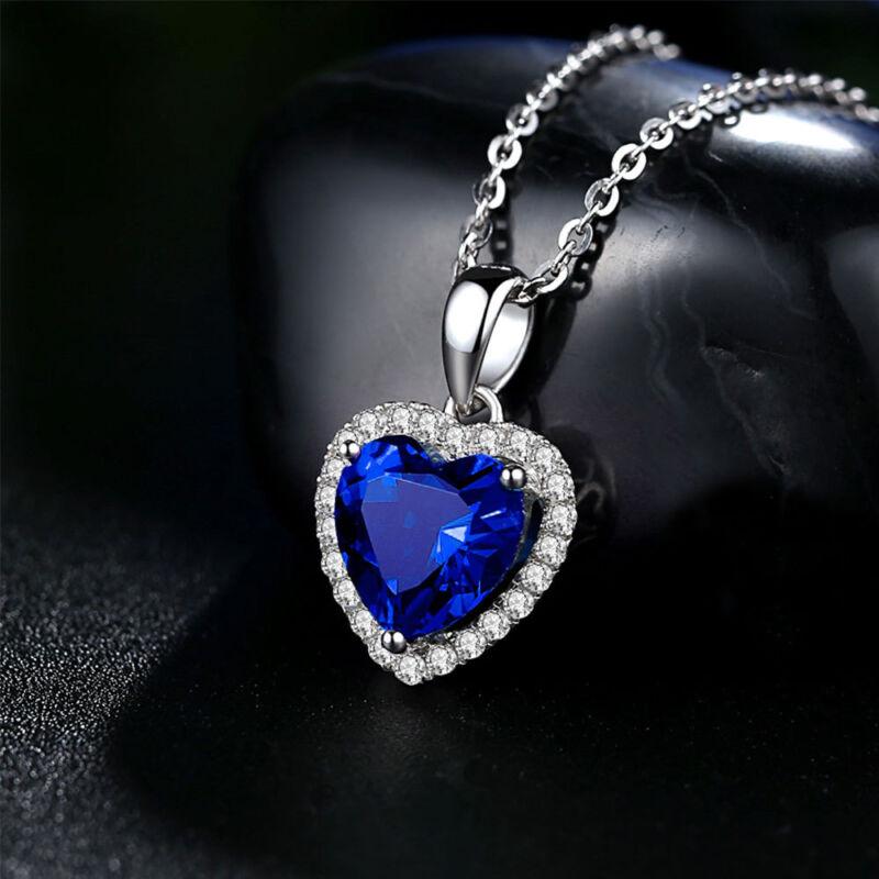 Titanic The Heart of the Ocean Blue Diamond Necklace Pendant Girls Jewelry  Gift 3fffb0ed0c80