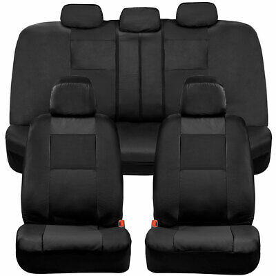 BDK Faux Leather Full Set Car Seat Covers - Front & Rear Two-Tone in Black