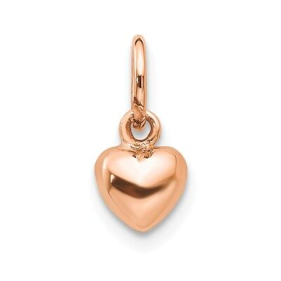 14kt Rose Gold Solid Polished 3-Dimensional Small Heart Charm; 12 mm