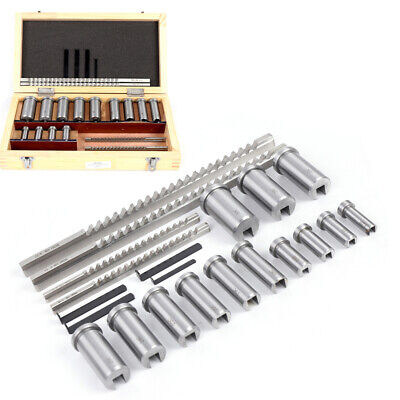 22pc Keyway Broach Kit Metric Size Processing Tool Collared Bushing Shim Set