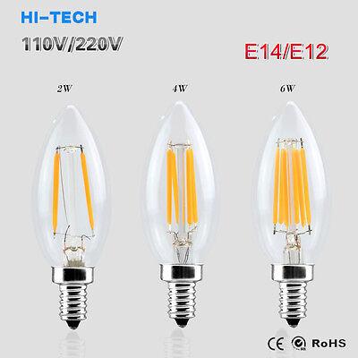 - Dimmable E12 E14 Light Bulb LED Retro Edison COB Filament Candle Lamp 110V 220V