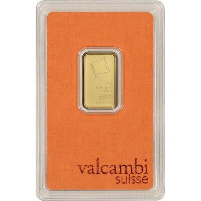 5 gram Gold Bar - Valcambi Suisse - 999.9 Fine in Sealed Assay