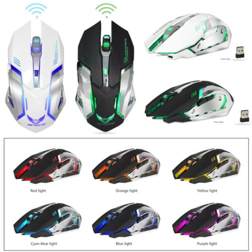 X70 7 LED Backlit Rechargeable 2.4GHz Wireless USB Optical Gaming Mouse Mice US Computers/Tablets & Networking