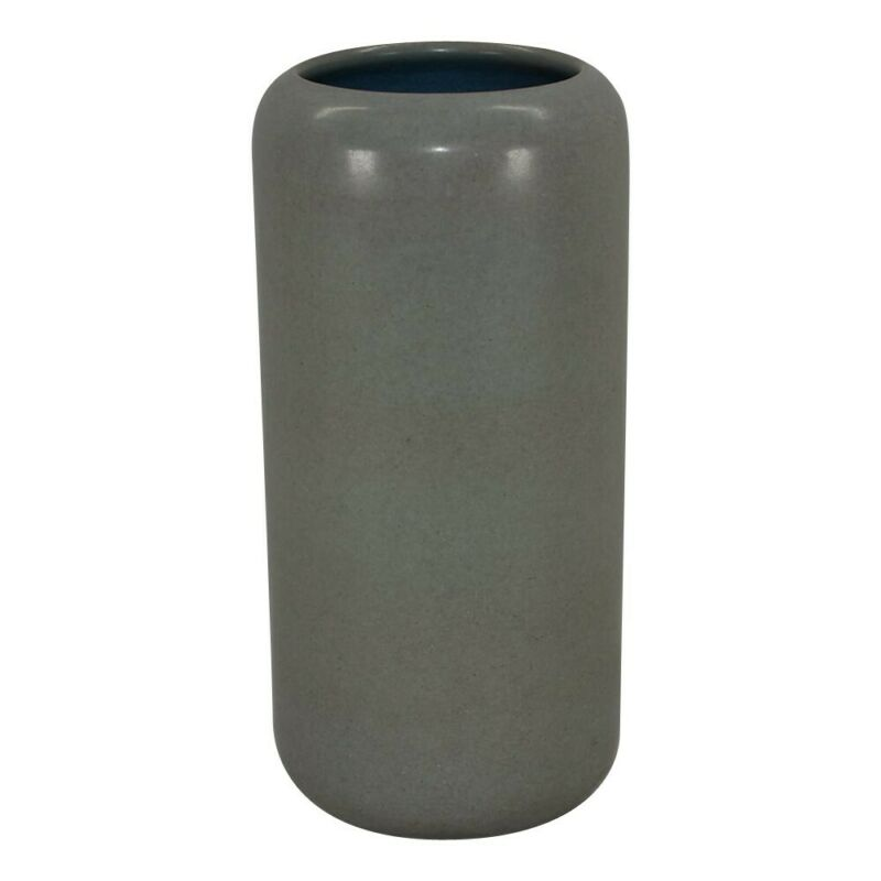 Marblehead Pottery Mottle Gray Cylindrical Vase Shape 17