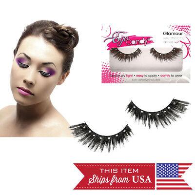 Natural/Costume Fake Eyelashes Makeup Thicker Longer False Eye Lashes +Glue USA