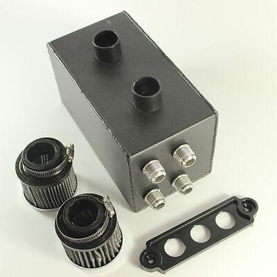 Baffled Oil Catch Can 4 Port All Black  10AN For Honda Civic Integra EK EG DC 2F
