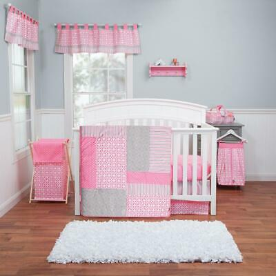 Lily 3-Piece Pink, White, Grey Geometric Polyester Crib Bedding Set by Trend Lab
