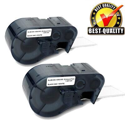 2 Pack Compatible For Brady Bmp-51 Mc1-1000-595-wt-bk Label Tape Black On White