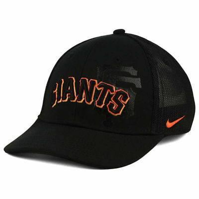 Giants Mlb Mesh (San Francisco Giants Nike MLB Sweet Spot Swoosh Flex Mesh Black Baseball Cap Hat )