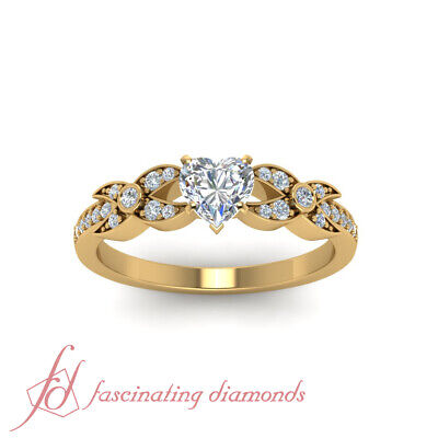 .85 Ct Heart Shaped And Round Diamond Women Engagement Rings 14K Yellow Gold GIA 1