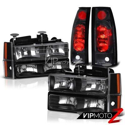 1992-1993 Chevy Blazer Suburban 1500 2500 Black Headlight Bumper Tail Light Lamp