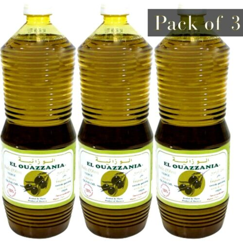 Al Ouazzania Moroccan Olive Oil 1 Litre Each Bottle - Pack of 3 (3 Litres Total)