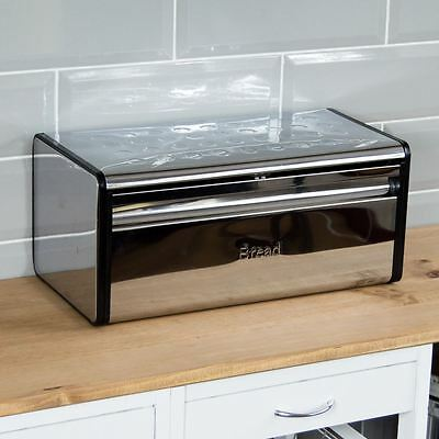 Rectangular Bread Bin Steel Roll Top Kitchen Storage Loaf Box By Home Discount