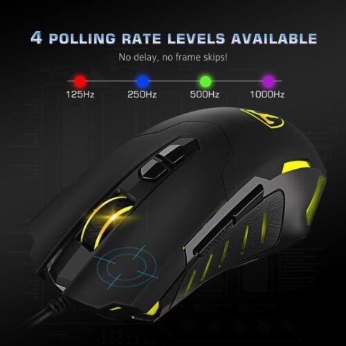 7200 DPI 7 Tasten Wired USB Gaming Maus 5 LED Beleuchtet Regenbogen ...