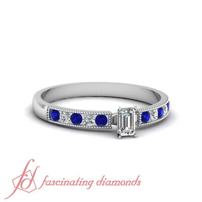 Blue Sapphire And Emerald Cut Diamond Rings Channel Set In Platinum 0.55 Ct GIA