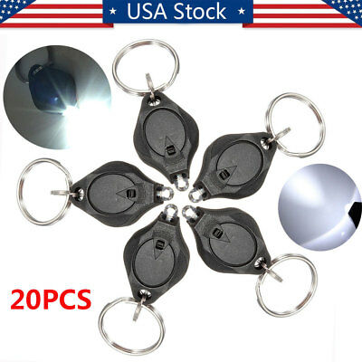 20x Mini Bright White Keychain LED Light Lamp Key Ring Flash Flashlight Torch US