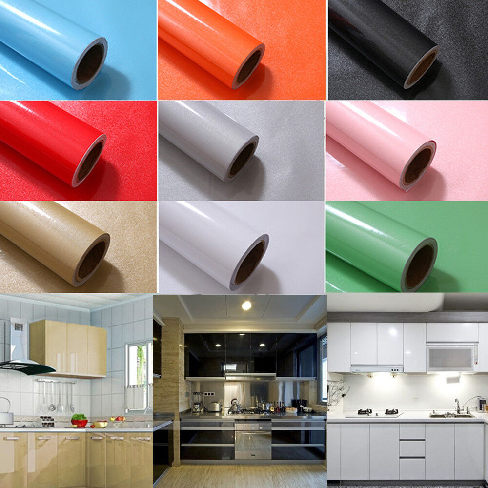 5m Roll Kitchen Cabinet Refacing Film High Gloss Vinyl