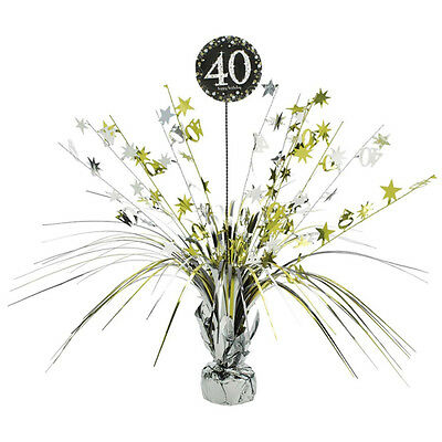 40th Birthday Spray Centrepiece Table Decoration Black Silver Gold Age 40 Party - 40th Birthday Table Centerpieces