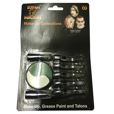 Green White Facepaint Palette with Talons Nails for Witch Halloween Make Up NEW