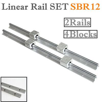 Sbr12-1000mm 2pcs Linear Rail Guide 4pcs Sbr12uu Block Bearing For Cnc