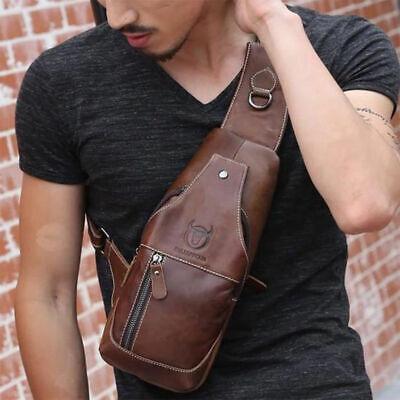 USA Men Chest Shoulder Bag Cowhide Leather Sling Bags Crossbody Satchel Backpack