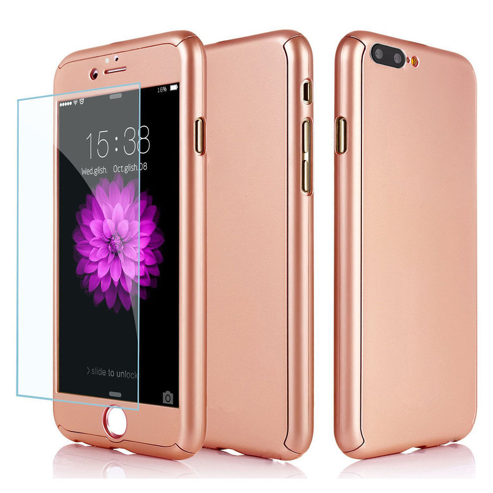 Ultra Thin Slim Hard Case Cover For Apple iPhone 6 6S 7 8 Plus + Tempered Glass