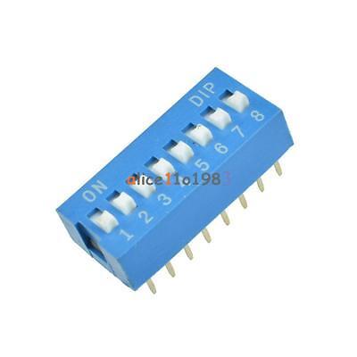10pcs Slide Type Switch Module 2.54mm 8-bit 8 Position Way Dip Blue Pitch