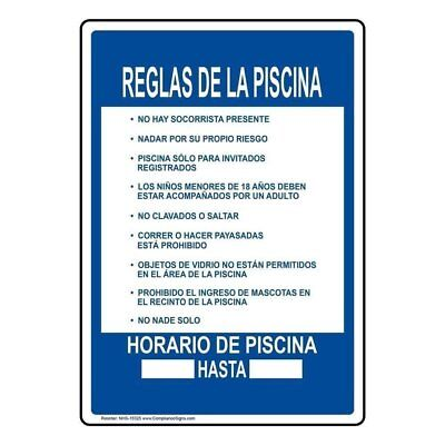 Pool Rules Spanish Sign 10x7 In. Plastic For Recreation By Compliancesigns