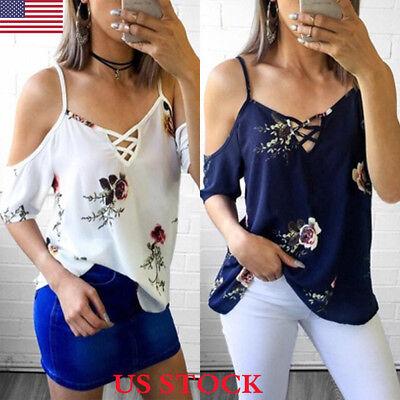 Fashion Women Summer Loose Casual Off Shoulder Shirt Crop Tops Blouse Ladies Top