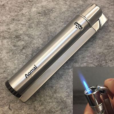 Windproof Butane Jet Lighter - AOMAI Windproof Jet Torch Refillable Butane Flame Cigar Cigarette Lighter Silver