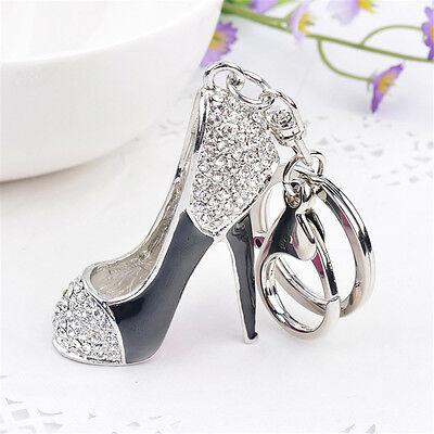 - New Women High Heel Shoes Key Chains Crystal Rhinestone Silver Plated Key Rings
