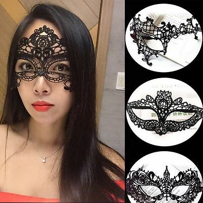 Best Women Halloween Ball Dress Black Sexy Eye Party Lace Mask Costume