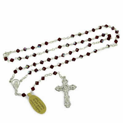 Rosary with Red Swarovski Crystal Beads Necklace