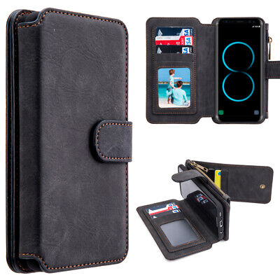 Samsung GALAXY S8 / Plus Leather Zipper Pouch Wallet Case Protective Cover -