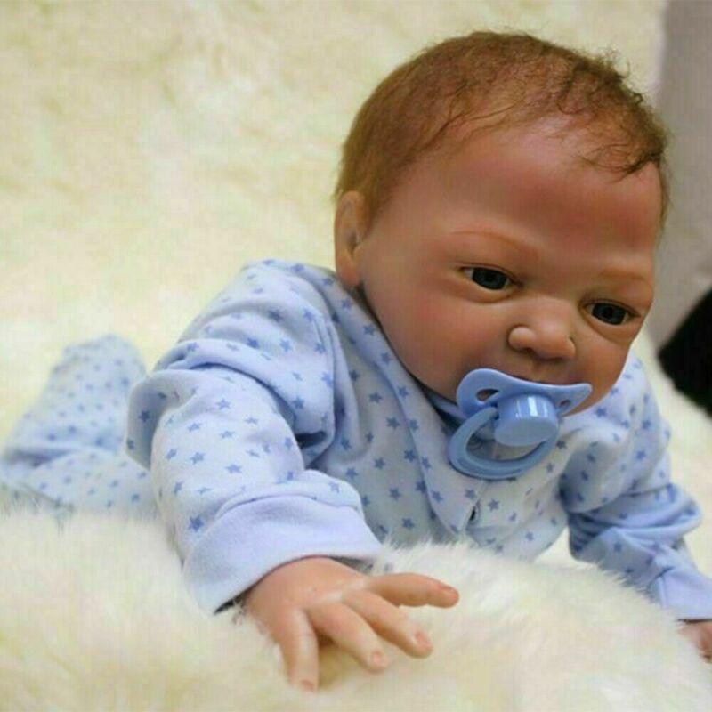 """Realistic Reborn Newborn Boy Doll 22"""" Handmade Vinyl Silicone Baby Dolls Xmas"""