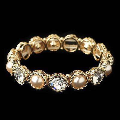 Gold Rhinestone Crystals & Ivory Pearls Bridal Wedding St...