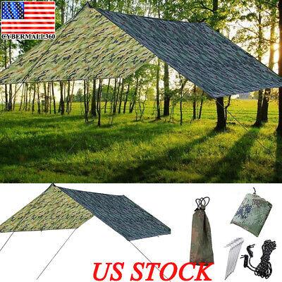 Waterproof Tent Tarp Rain Sun Shade Hammock Shelter Camping Picnic Pad Mat -
