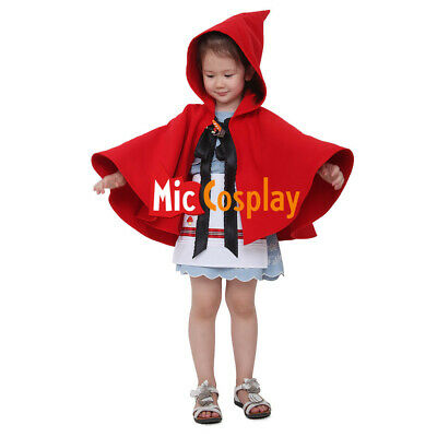 Little Red Riding Hood Girl Halloween Cosplay Costume Cloak Hoodie For Kids - Red Riding Hood Costume For Kids
