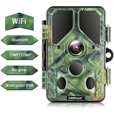 WiFi 20MP Trail Camera Campark Bluetooth 1296P No Glow IR Game Wild Hunting Cam