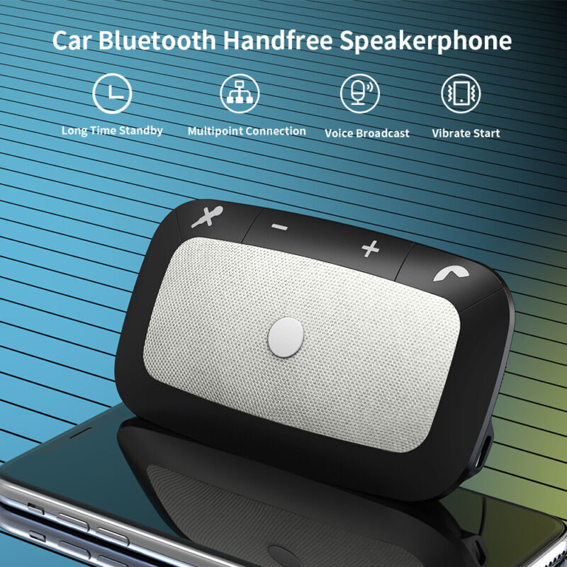 Bluetooth 5.0 Auto Car Sun Visor Multipoint Speakerphone Speaker Hands-Free Kit