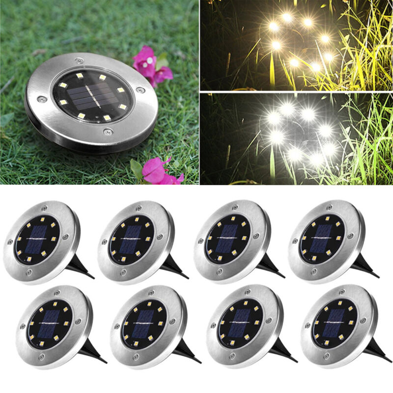 4/8er Set Solarlampe Garten Lampe Solarleuchten Bodenstrahler Gartenleuchten LED