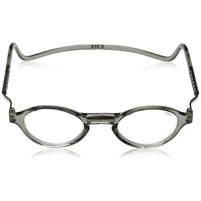CliC CLASSIC Reading Glasses, Magnetic-snap click it clicker Smoke +1.25 - +3.00