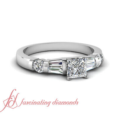 1.25 Carat Princess Diamond White Gold Engagement Rings For Women GIA Certified