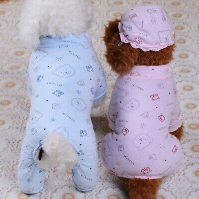 Cotton Dog Pajamas Poodle Pet Clothes Jumpsuit Small Puppy Cat Outfit Leisure - Cats Outfit