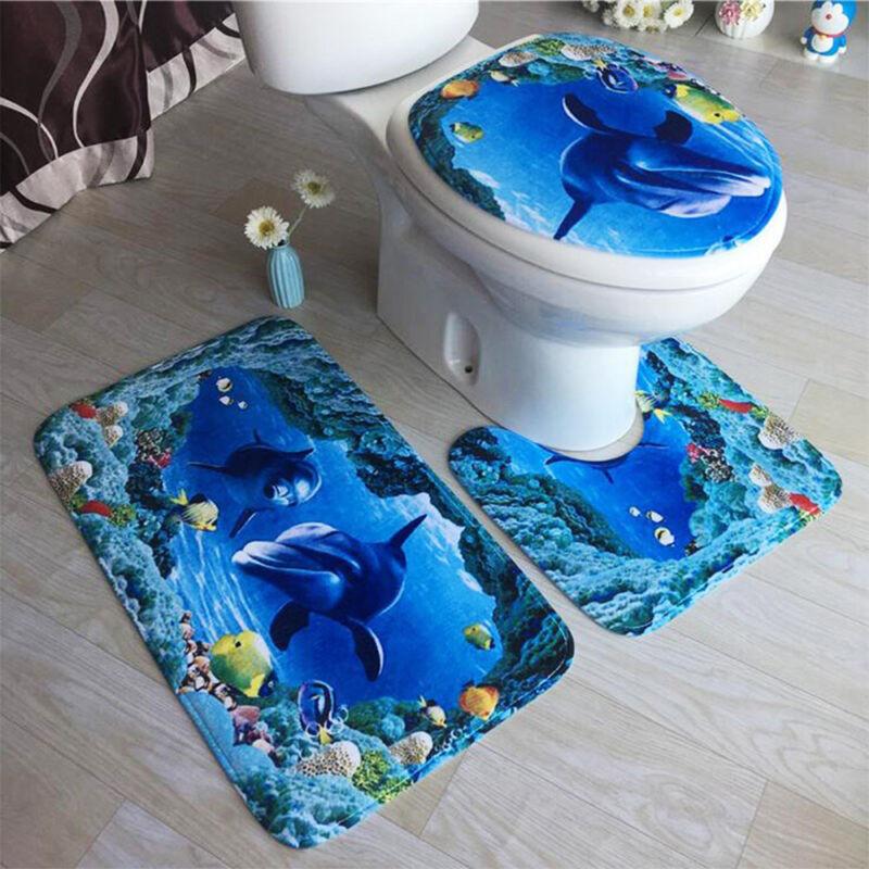 2 Tlg Badgarnitur Badezimmer Matte Set Dusch Bade Matte Vorleger Teppich WC Bade