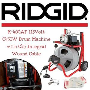 NEW Ridgid 27013 K-400AF 115Volt C45IW Drum Machine with C45 Integral Wound Cable with Autofeed Condtion: New open bo...