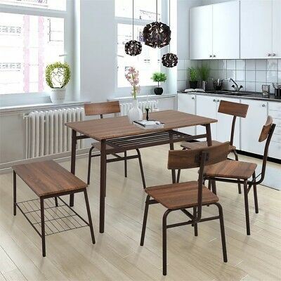 6-Composition Kitchen&Dining Room Rectangular Table Chairs&Bench Set Modern Home Style